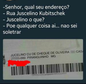 """Carta endereçada à rua """"Juscelino Cu de Cheque"""""""