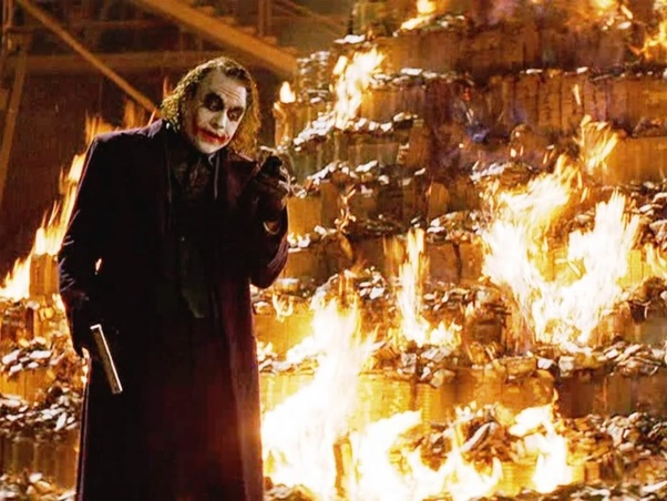 Image result for joker burning money scene