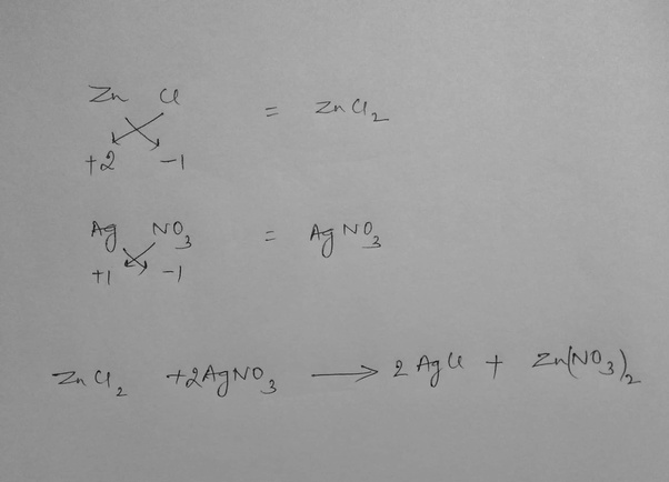 What Is The Balanced Equation Of Zinc Chloride And Silver Nitrate