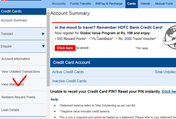 hdfc credit card my account statement