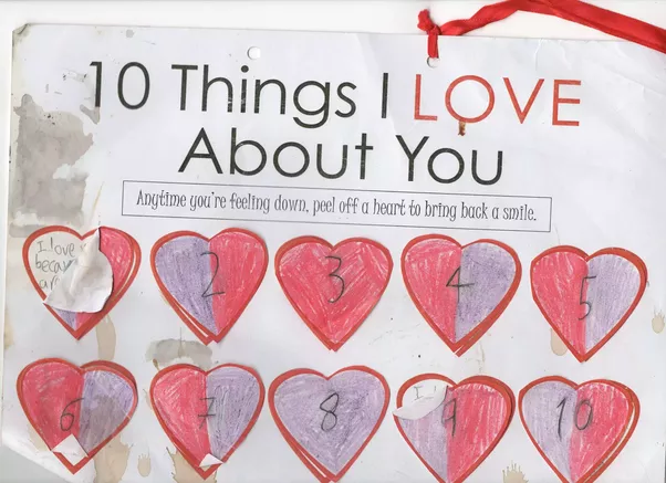 each of the little hearts is attached with blu tak take one off and underneath is a little reason why he loves me all of them are personal i love you - What To Get Mom For Christmas