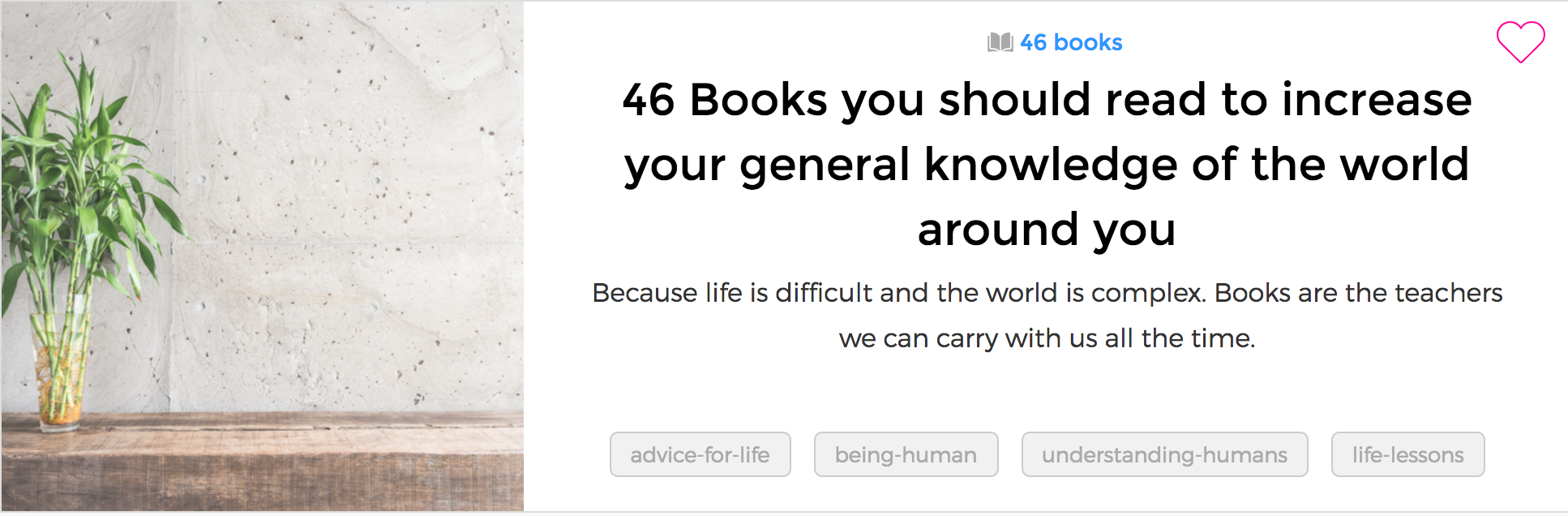 I don't read a lot, and that's a problem, so I decided that