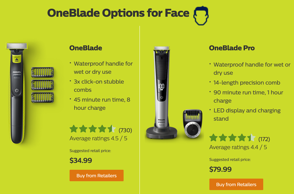 What's the difference between the Philips OneBlade Pro and the Philips  OneBlade? - Quora