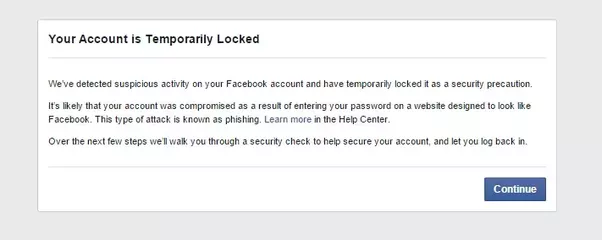 I am temporarily locked out of facebook