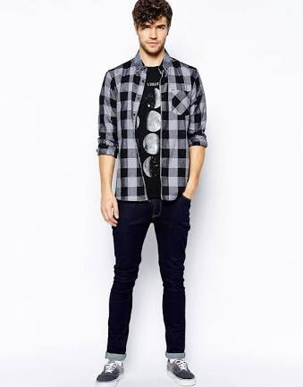 effa2533b22 Which colour jeans go with a black and white check shirt  - Quora