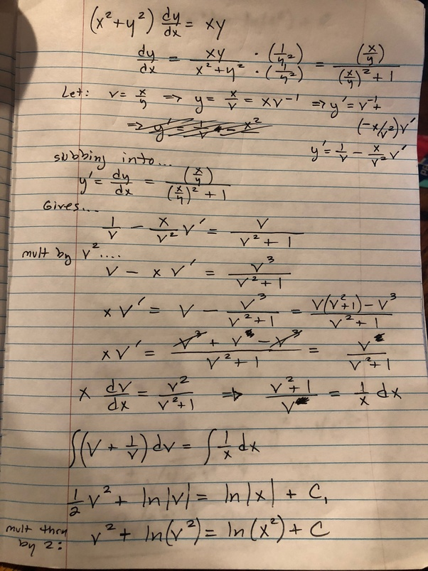 How do l solve the initial value problem (x^2+y^2) dy/dx=xy