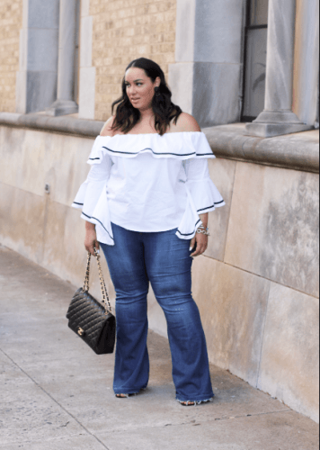 8dacfca4722 Planning to roam around the town in springtime  This black lined white top  from Ashley Stewart along with flare jeans is a great ensemble.