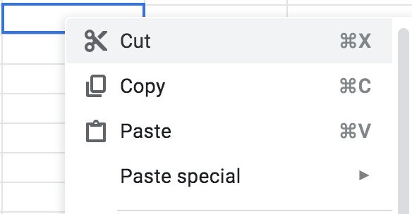 Why does Google sheets not allow cut, copy and paste via
