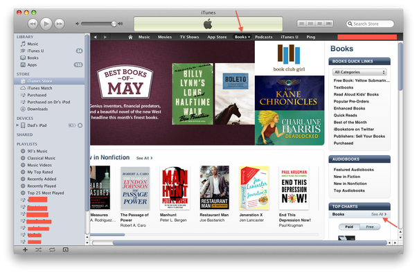 How to browse and download iBooks on my iPad through iTunes