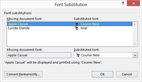 if there are no font substitutions within the document word informs you and there is nothing more to do if there are font substitutions word displays the