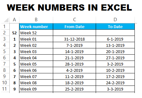 Week number from date in excel