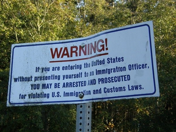 the only thing stopping people from illegally entering the us is this sign and the chance you might get caught