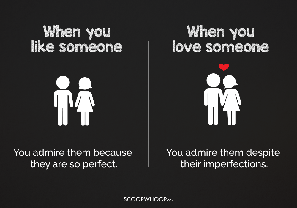 What is the difference between liking someone and loving someone