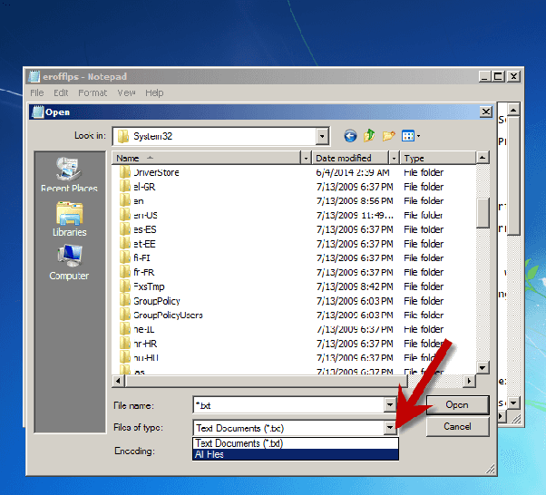 how to change main file name on windows 7