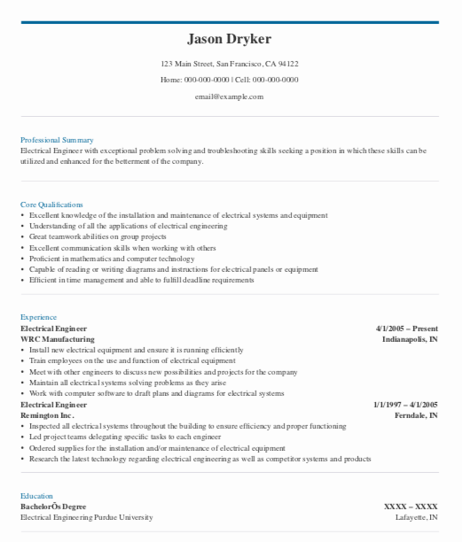 What Should Be The Format Of An Electrical Engineer Resume Quora