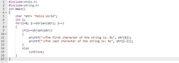 How should I print the 1st and last character of a string in