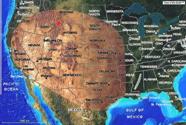 If Yellowstone erupted, which half of the US would be more ... on high resolution yellowstone map, nps yellowstone map, yellowstone national park wy to farmington new mexico map, yellowstone national park topo map, yellowstone np map,
