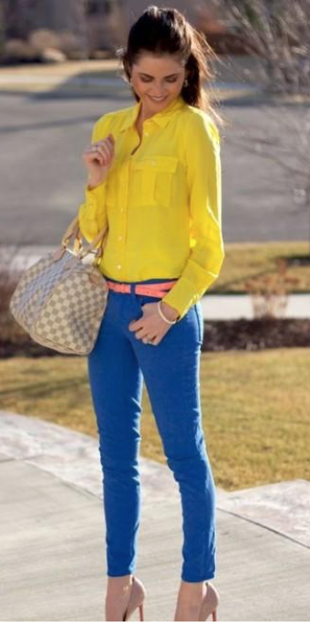 What colour pants goes well with yellow shirts? - Quora