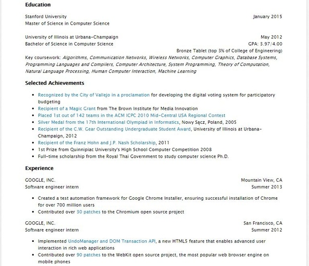 what does a stanford admitted master student u0026 39 s resume in cs really look like in the aspects of