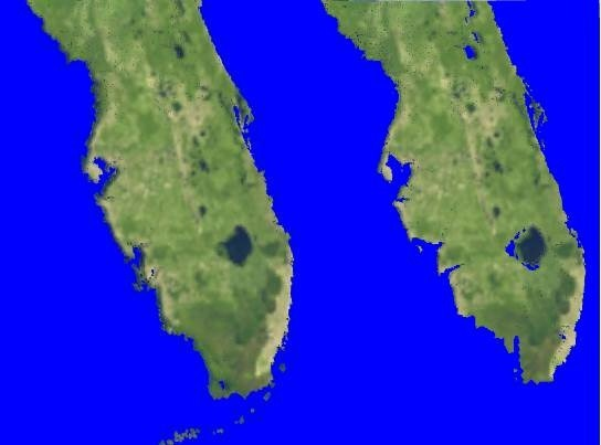 florida before and after a 3 meter sea level rise due to melting ice from the antarctic and greenland ice sheets image made using the eustatic sea level