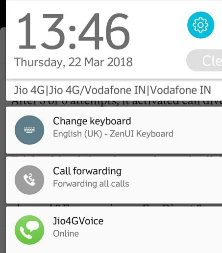 Has anyone activated 'call forwarding' from Vodafone to Jio