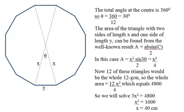 A regular 12 sided polygon has an area of 4800cm 2 what is its perimeter quora for Exterior angles of a polygon formula