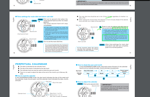 How to differentiate between am and pm in seiko v198