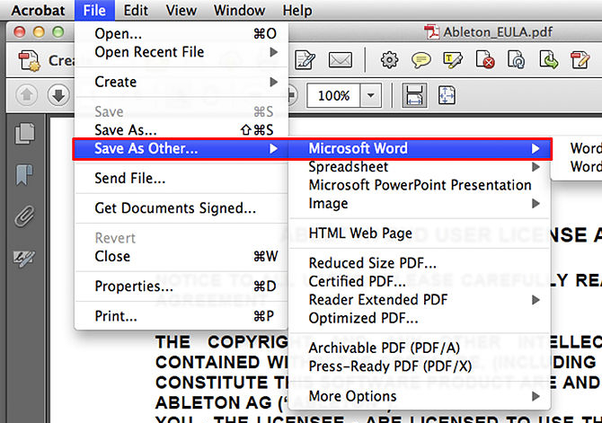 What is the best way to copy a PDF file into a Word