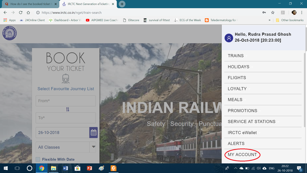 How to see the booked ticket history on the new website of IRCTC - Quora