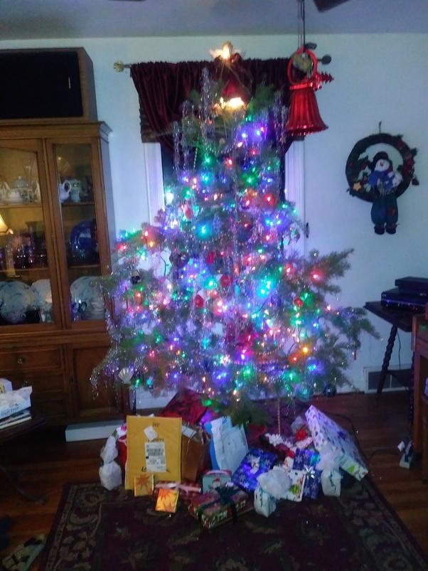 Angel hair christmas tinsel on tree
