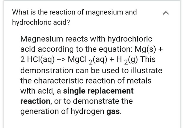 magnesium and hcl