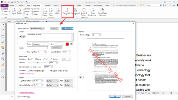 Is there any way to watermark the PDF file such, that mark will stay
