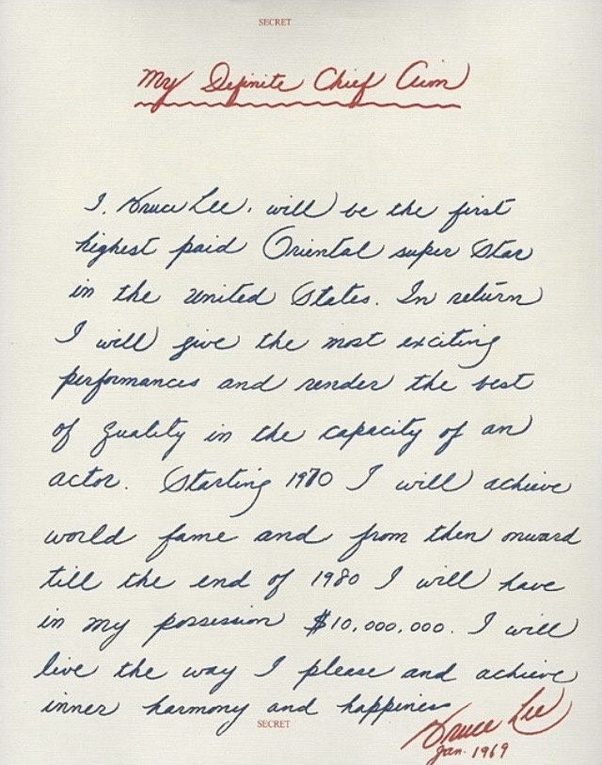 Personal goals what are some of the examples of if you can dream if you go to hollywood you will find this letter bruce lee wrote this to himself and sealed it secret in 1969 when he was a small tv star spiritdancerdesigns Choice Image