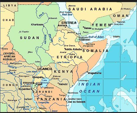 africa map yemen