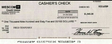 what does a bank cheque look like