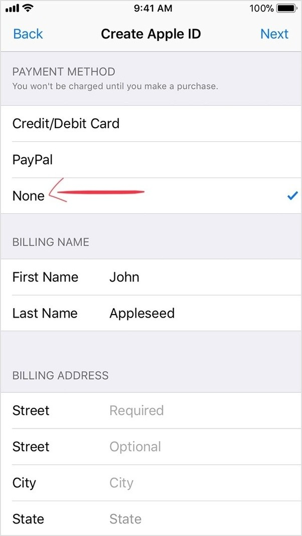 to find this option in ios 11 after creating an apple id go to settings itunes app store apple id tap it view apple id payment information