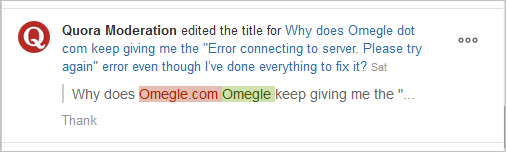 Why does Omegle dot com keep giving me the 'Error connecting to