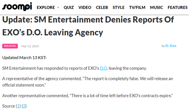 Why EXO's do will not renew his contract with SM