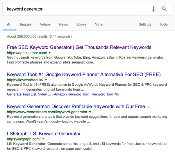 Site keywords generator