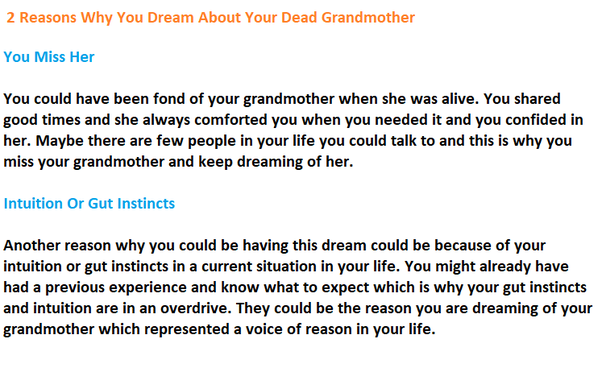 What does dreaming about a dead grandmother mean? - Quora
