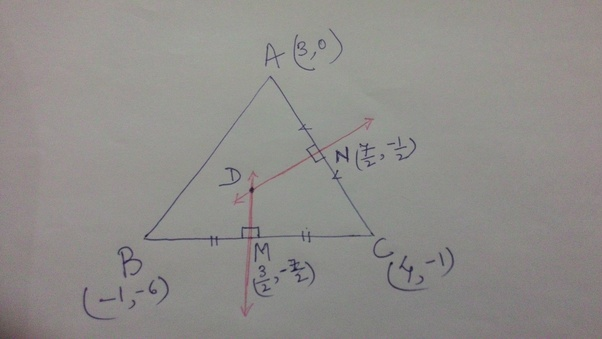 Circumcentre of a triangle is the point of concurrency of perpendicular  bisectors of 3 sides of the triangle. In the following figure, D is the  circumcentre ... 2d9495773c