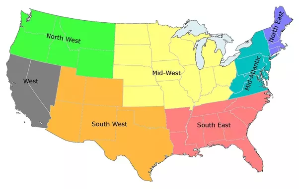 according to the us census bureau however there are only 4 regions north south east and west new mexico and arizona are considered part of the western