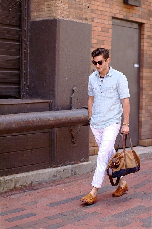 white pants outfit mens