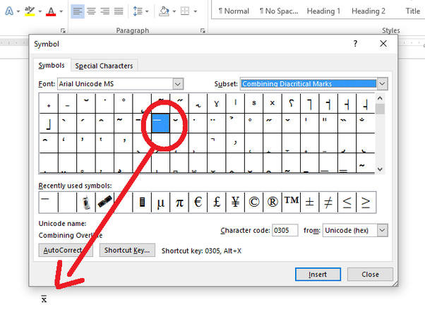 How to insert x bar (population mean) into a word document ...