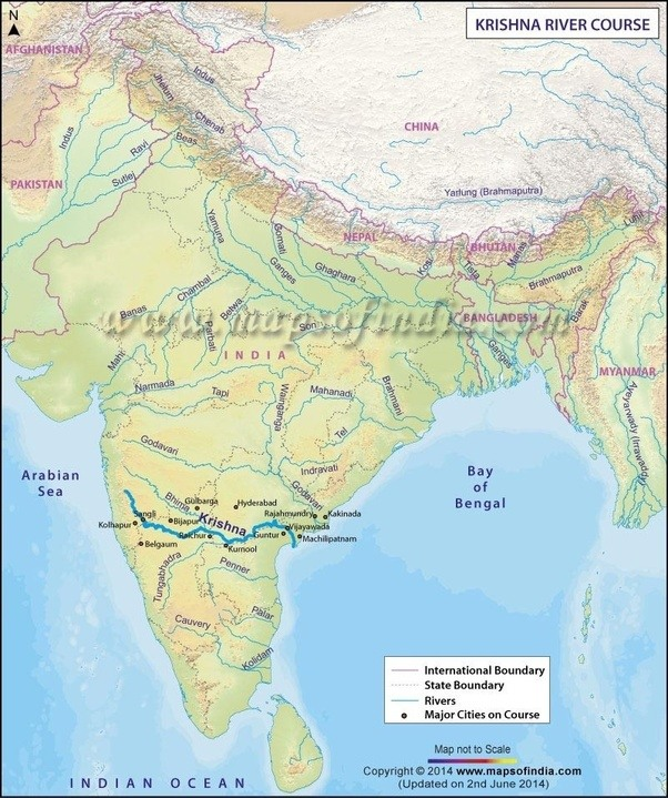 Through What Path Does The Krishna River Flow Quora - Ap rivers map