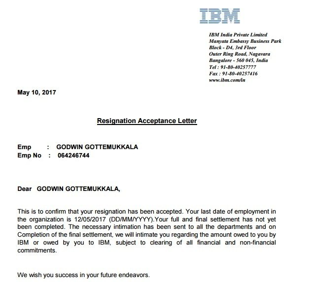 Experience Letter In Ibm India