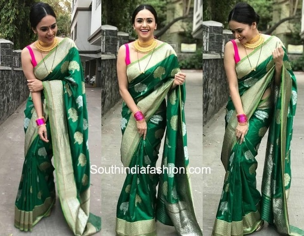 ed0163e6edbfb9 Magenta, gold, bottle green and red are your colours that will look the  best with your bottle green saree.