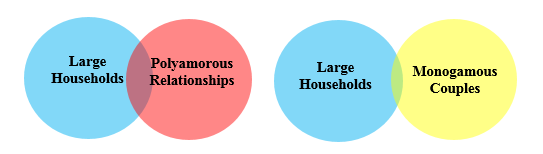 image description two venn diagrams one showing large households with a small overlap with polyamorous relationships and the other showing large