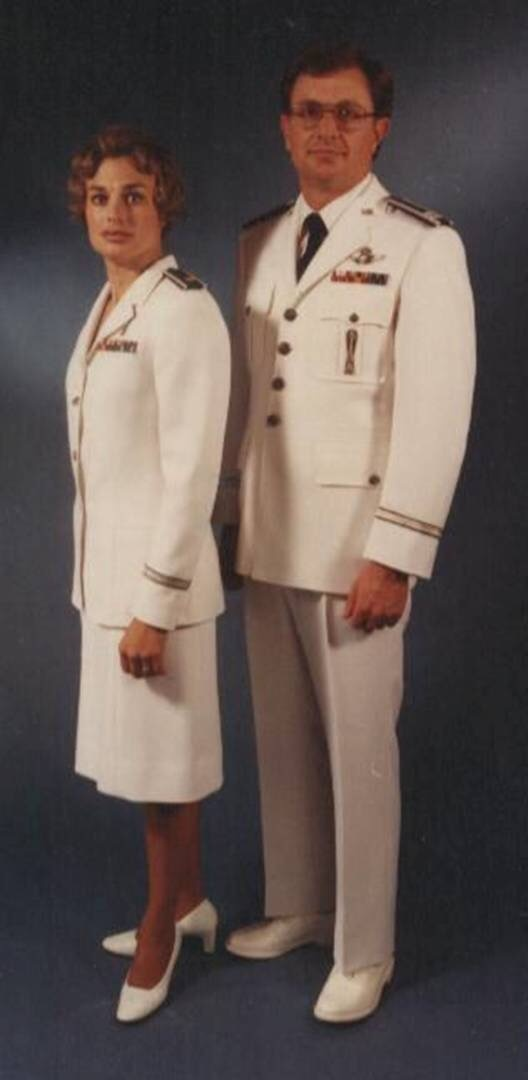 The male and female white ceremonial dress uniforms of the United States  Air Force. The AF dress whites where phased out on March 1st 4c56dd36f