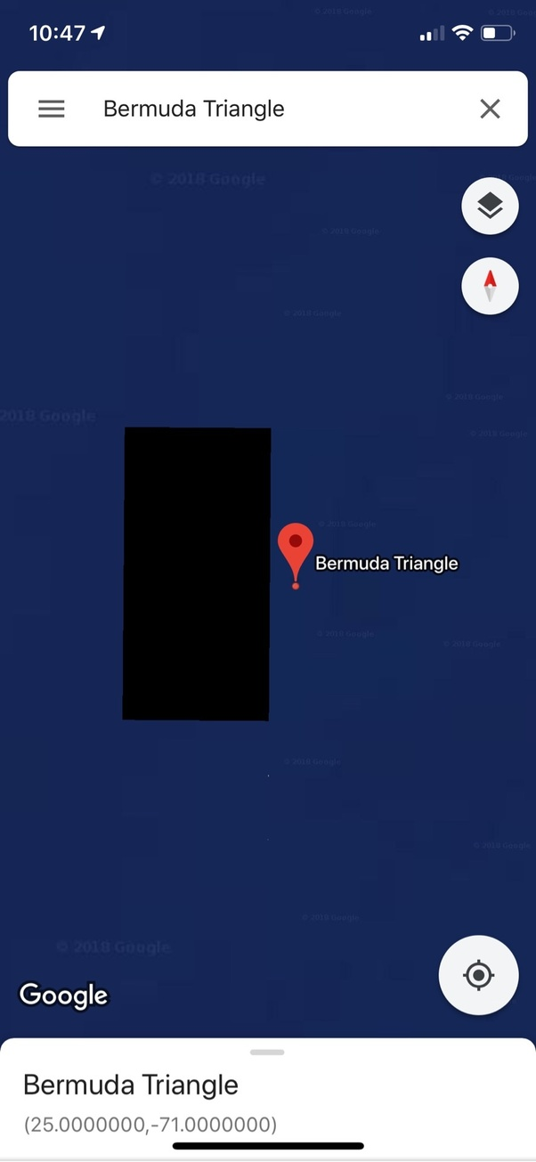 Why does Google Maps have this huge blackened area next to Bermuda ...
